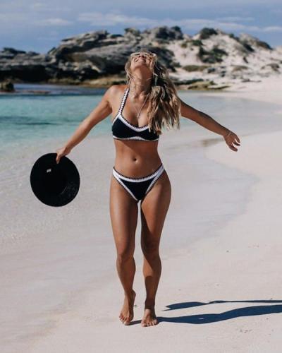 Sexy Black and White Contrast Bikini Set