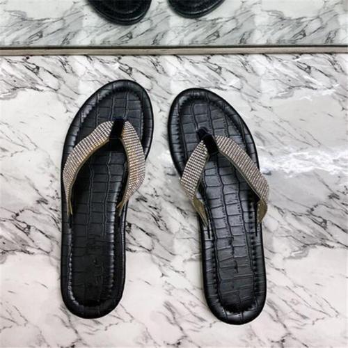Flat With Flip Flop Rhinestone Slip-On Slippers
