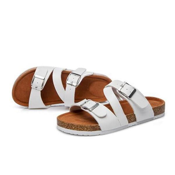 Summer Flat Slippers With Curly Flat Belt Buckle