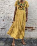 Bohemian Embroidery Casual Maxi Dress
