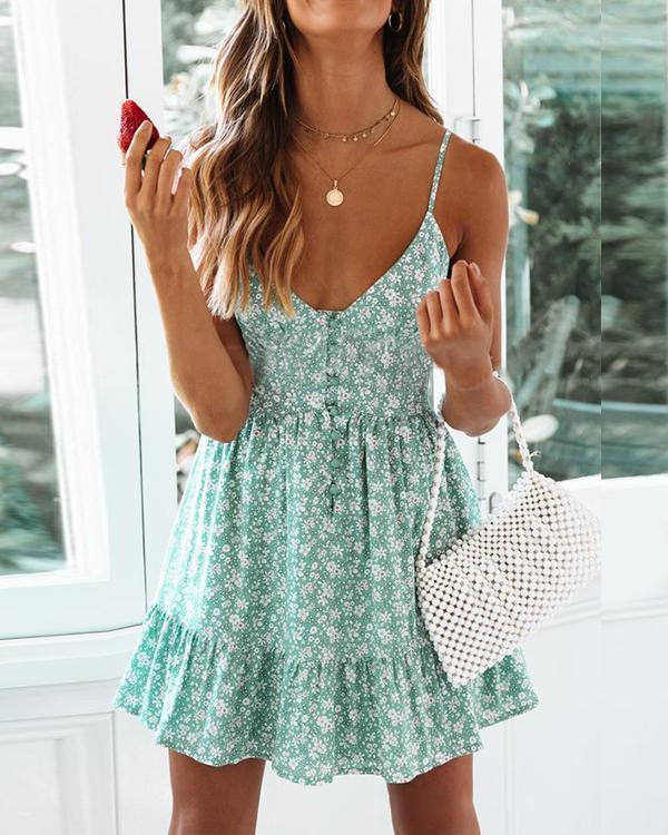 Printed Sexy Sling Sleeveless Dress