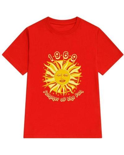 Fashion Casual Sun Printed Cotton Loose T-shirt