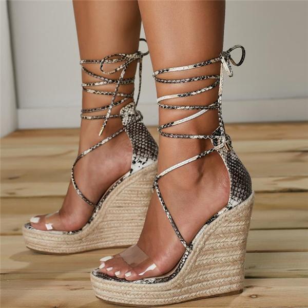 Women Platform Lace Up Sandals