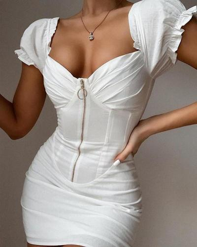 SOLID FRILL DETAIL BODYCON DRESS