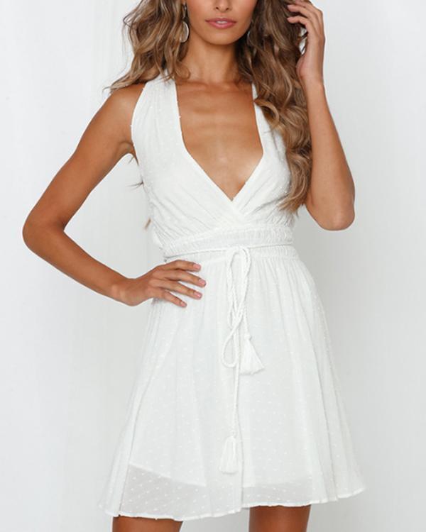 Three Colors Lace V-neck Halter Mini Dress