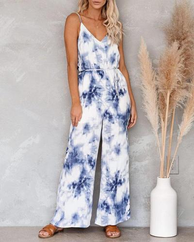 Tie Dye Print Sleeveless Casual Jumpsuit