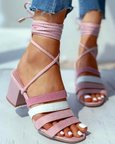 Striped Tape Colorblock Bandage Chunky Heeled Sandals