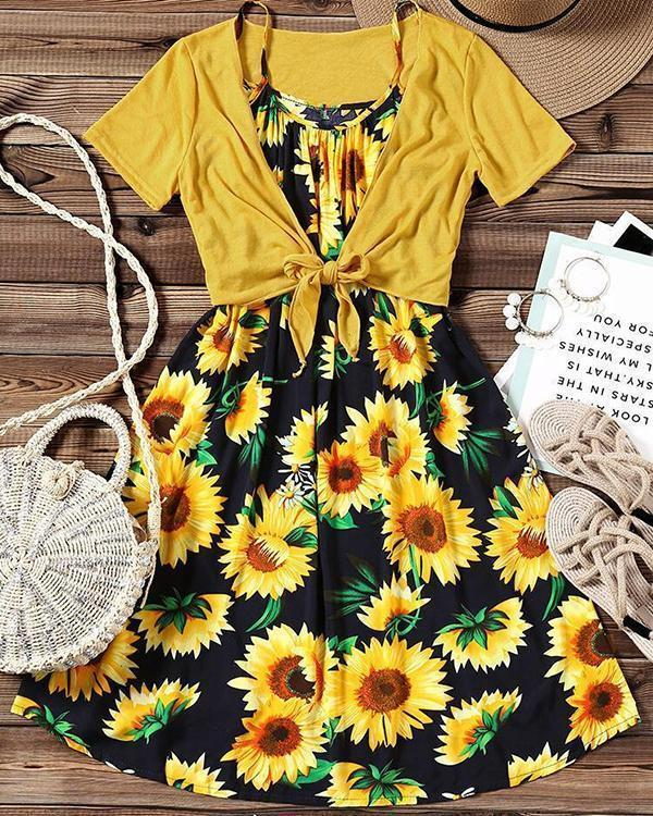 Sunflower Spaghetti Strap Casual Dress with Coat