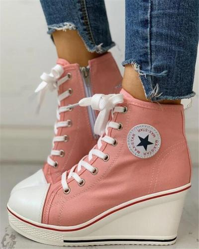Fashion Eyelet Lace-up Platform Wedge Sneakers
