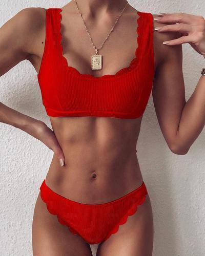 Solid Ruffles U-neck Bikini Set