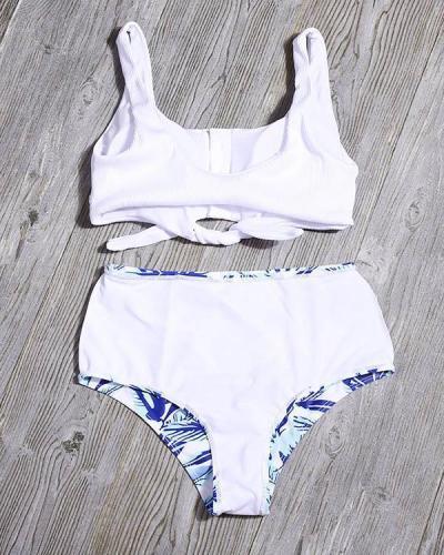 Tie Front Leaf Print High Waist Bikini Set