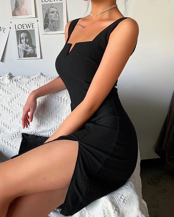 Women Split Side Dress Spaghetti Strap V Neck Sleeveless Black Dress