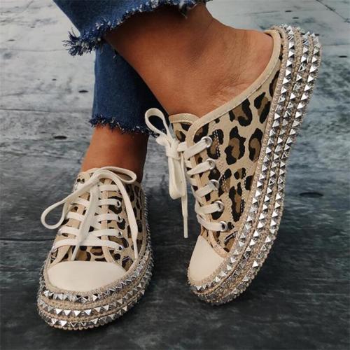 Women's Leopard Rivets Slippers Sneakers