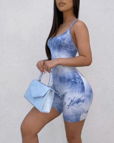 Sling-line Collar Tie-dye Home Casual Bottoming Romper