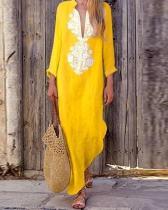 Fashion Women Vintage Dress Shift Half Long Sleeve Slit Dress
