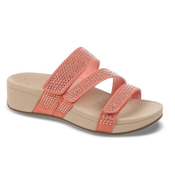 Women's comfortable thick bottom rhinestone slippers