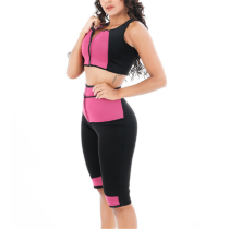SPORT WEAR FITNESS BODYSUIT HIHG-WAIST PANTS+VEST TOP