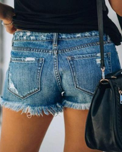 Fashion Casual Button Down Washed Denim Shorts