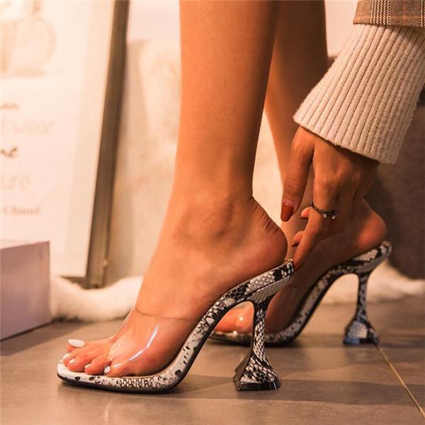 Slip-On High-heeled Snake Sandals