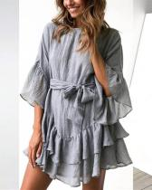 Flare Sleeves Flounced Linen Dress