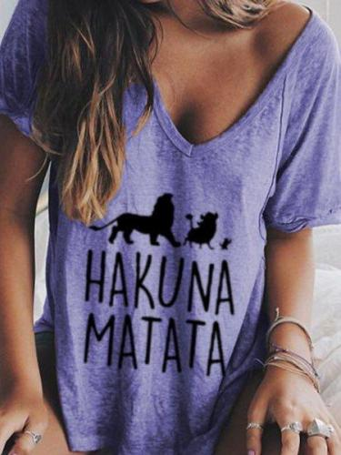 Women Printed Cotton V neck Short sleeve Tops T-shirt