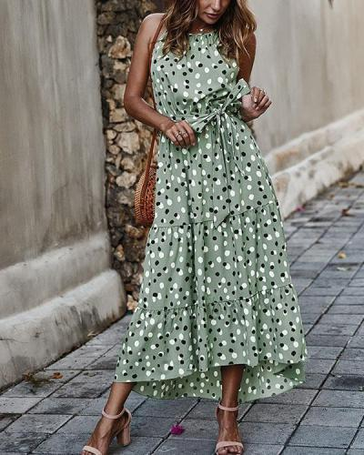 Polka Dot Frilled Front Collar Halter Neck Lace-up Holiday Maxi Dresses