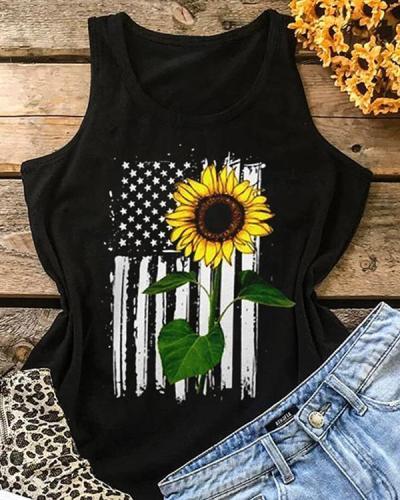 Sunflower American Flag Tank