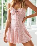 Floral Print Tie Front Mini Dress
