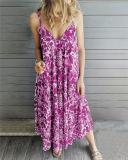 Bohemian Sleeveless  V Neck Holiday Dresses Shift Daytime Maxi Dresses