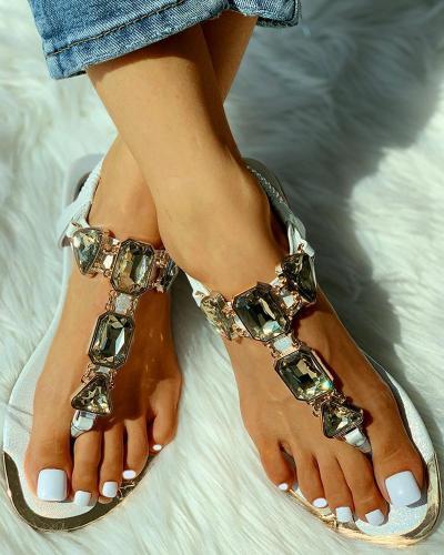 Studded Toe Ring Flat Sandals