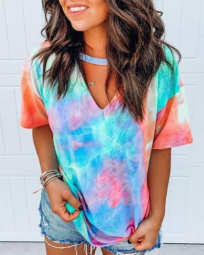 Short Sleeve Tie Dye Print T-shirt