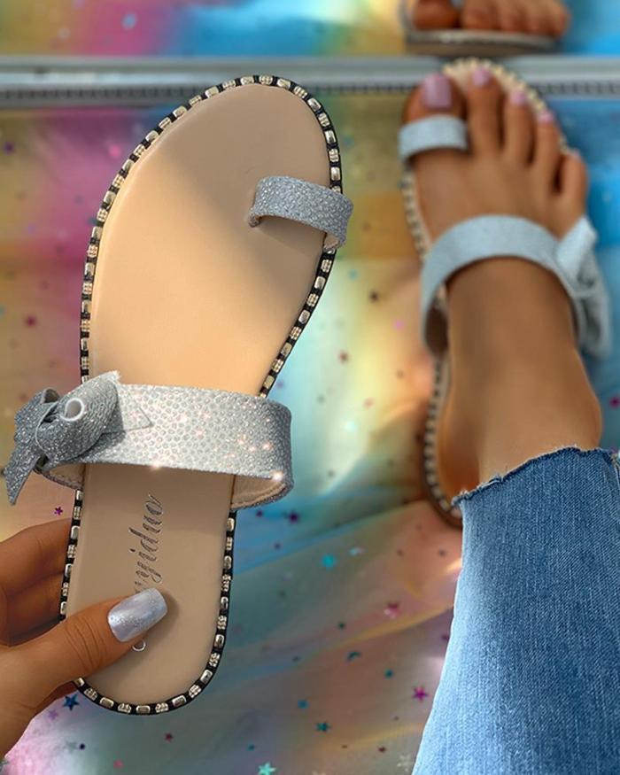 Studded Bowknot Pattern Toe Ring Flat Sandals