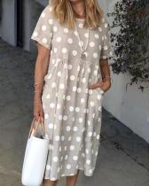 Women Polka Dots Pockets Casual Summer Midi Dresses