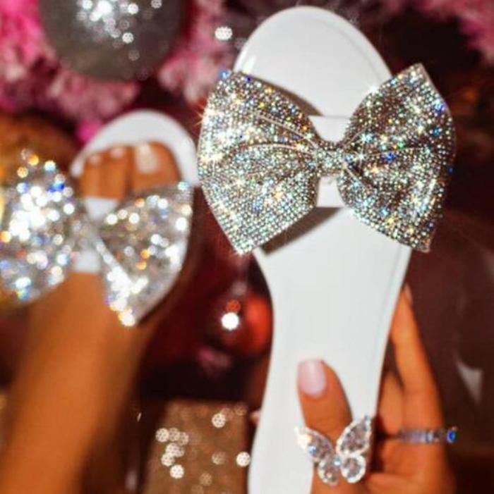 Glitter Bow Rhinestone Slippers