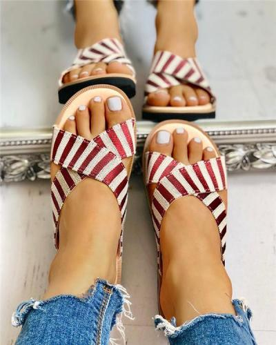Crisscross Design Striped Flat Sandals