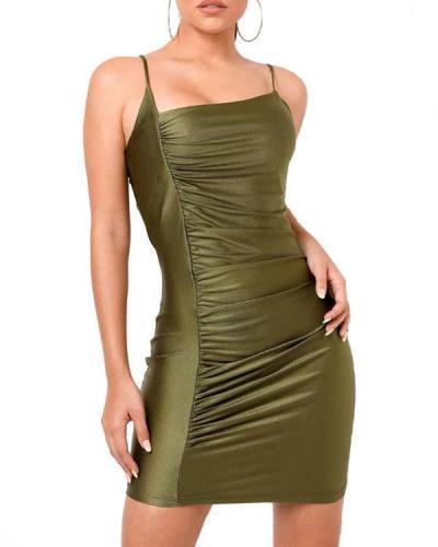 Women's Irregular Pure Color Slim Nightclub Crinkled Sling Dress