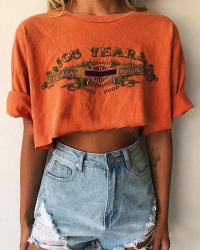 Women'S Casual Print Short Sleeve Short T-Shirt