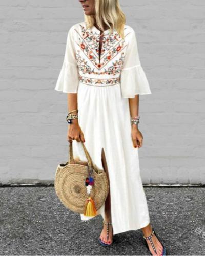 Plus Size Loose V-Neck Mid-Sleeve Printed Front Split Dress
