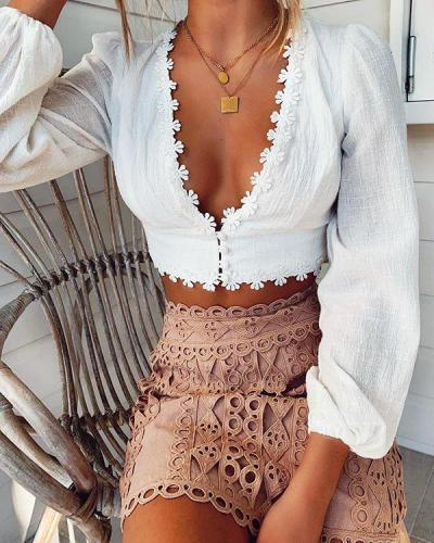 Cute V-Neck Short Cropped Long-Sleeved Lace Top