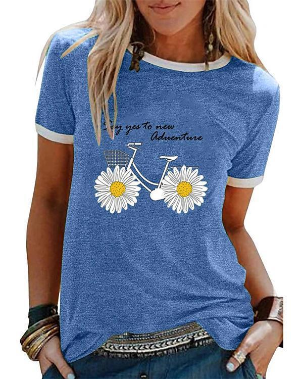 Women's Floral Daisy T-shirt Daily Tops
