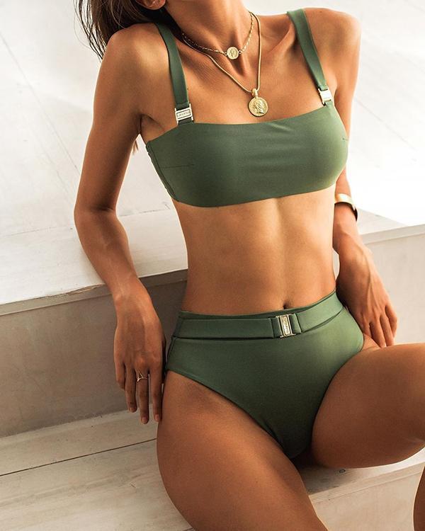 Solid Color Metal Split Bikini Set