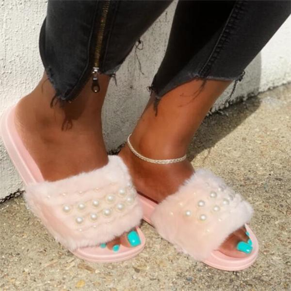 Women Summer Fur Whith Pearl Slippers
