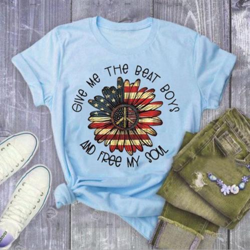 Sunflower American Flag Printed Short-sleeved T-shirt