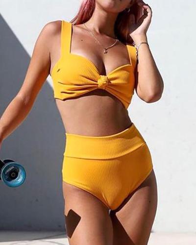 Sexy Solid Color High Waist Striped Bikini