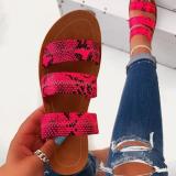 2020 New Fashion Woman Snake Skin Flat Sandals Slippers