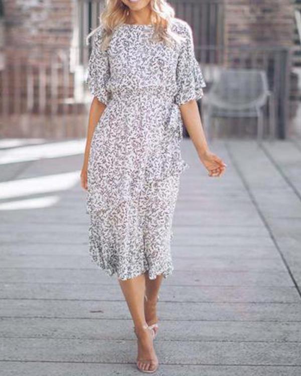 Half Sleeves A-line Crew Neck Floral Midi Dress