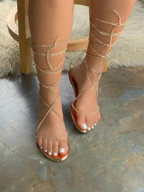 Slip-On Summer Lace-up Sandals