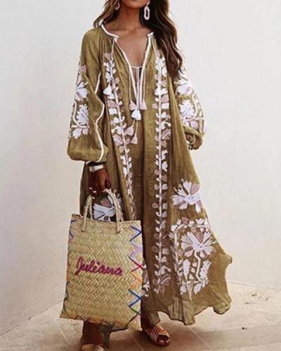 Plus Size Dress Balloon Sleeves Boho Printed Maxi Dresses