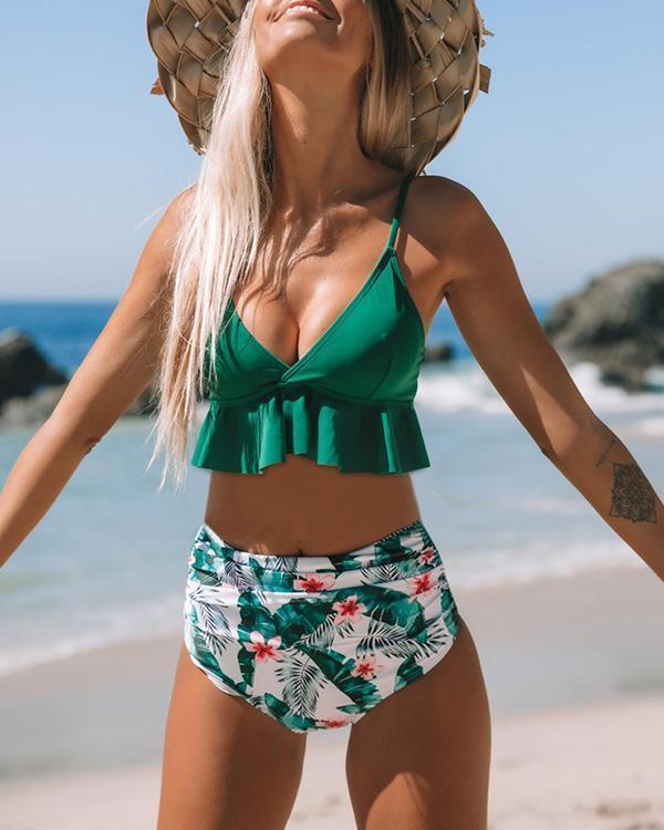 Ruffled High Waist Bikini swimwear