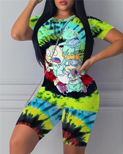 Print Round Neck Short Sleeve Top & Shorts Set
